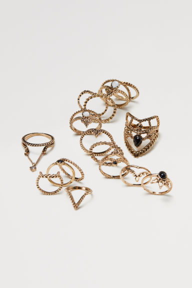 16-pack rings - Gold-coloured - Ladies | H&M