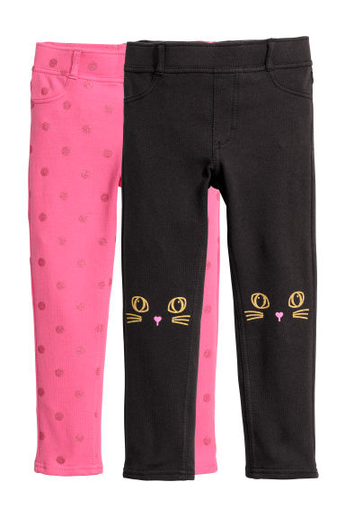 Lot de 2 treggings - Noir/chat - ENFANT | H&M BE