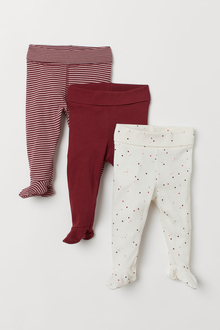 3er-Pack Leggings - Dunkelrot/Gepunktet - KINDER | H&M CH