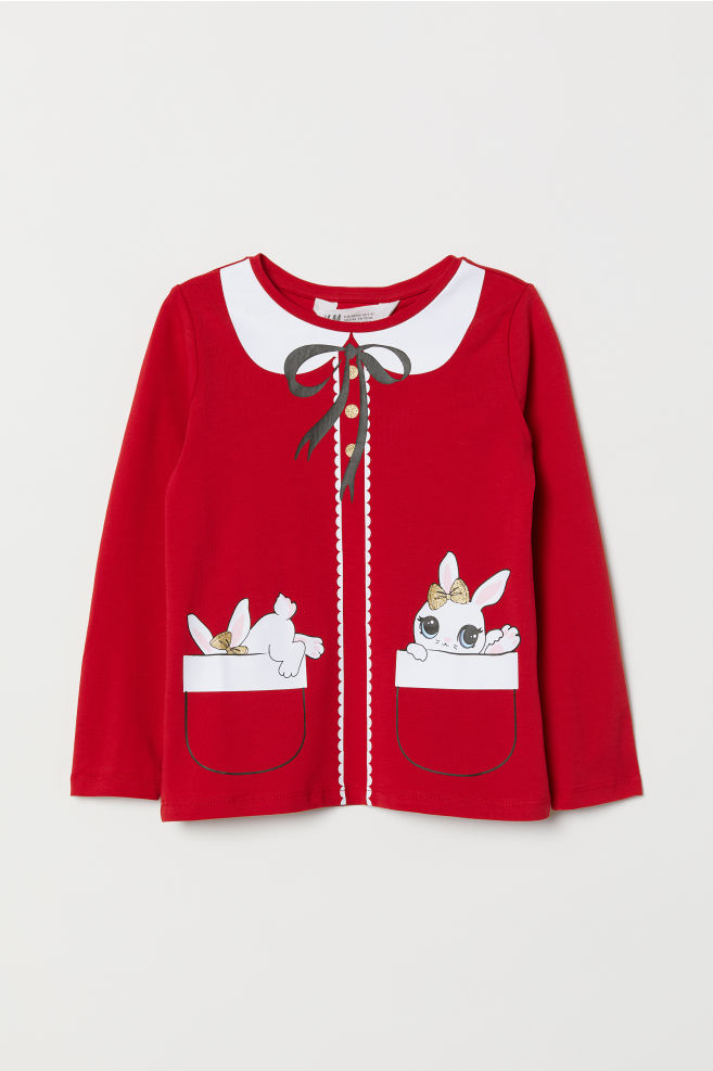 254047d5e595b Jersey Top with Printed Design - Red/rabbits - Kids | H&M ...