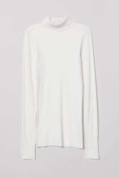 Cashmere-mix polo-neck jumper - White - Ladies | H&M
