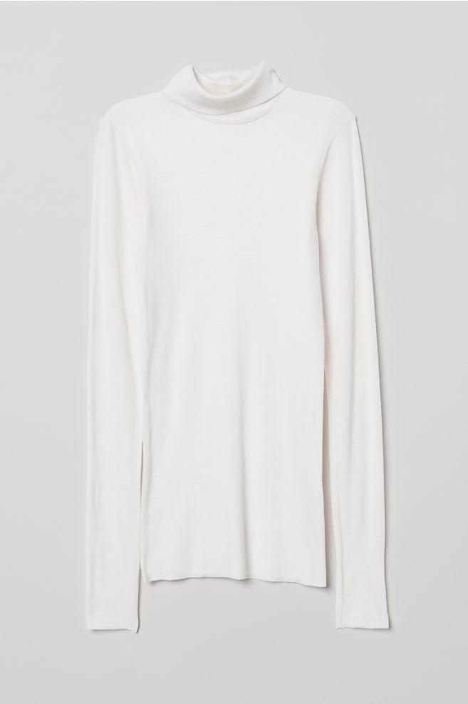 e443a50c4 Cashmere-mix polo-neck jumper - White - Ladies