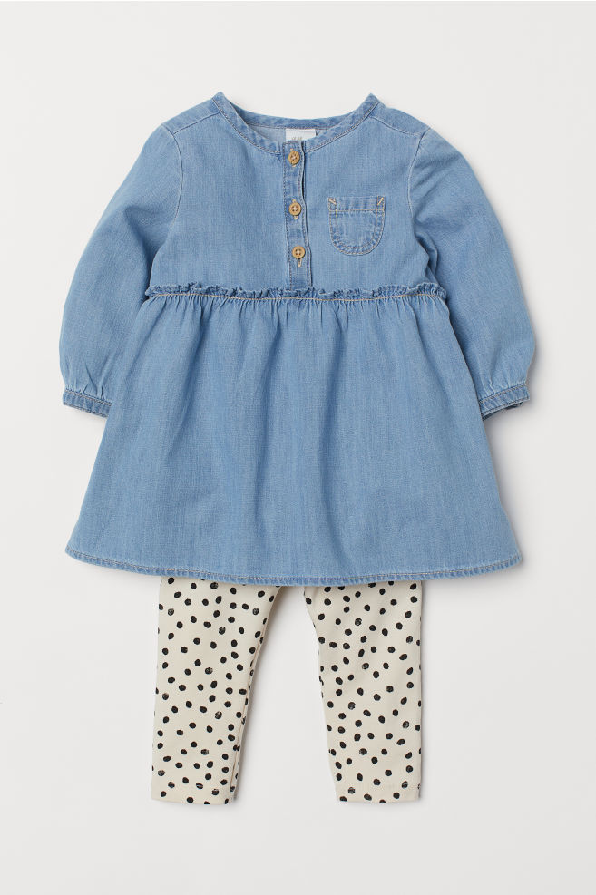 997f2b0c85b5 Džínové šaty a legíny - Denim blue - DĚTI