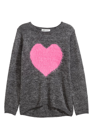 Knitted jumper - Dark grey marl/Heart -  | H&M