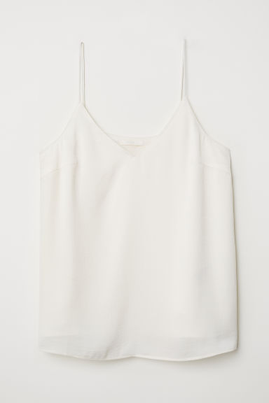 V-neck satin top - Cream - Ladies | H&M