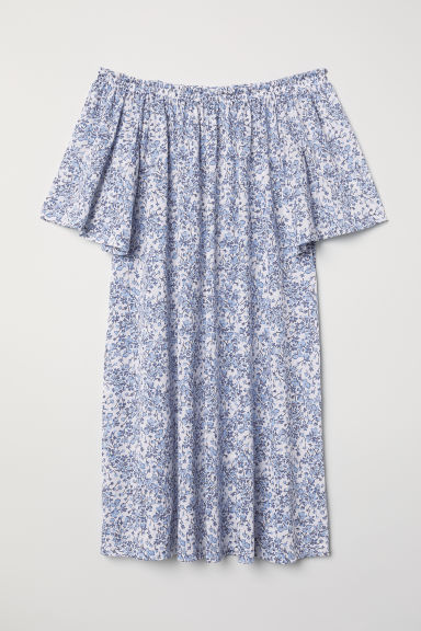 Off-the-shoulder dress - White/Floral - Ladies | H&M