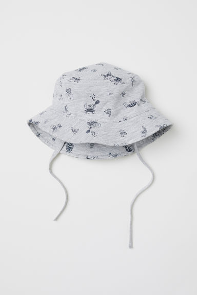 Cotton sun hat - Grey marl/Patterned -  | H&M