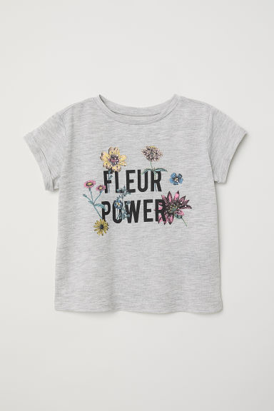 Top in jersey con stampa - Grigio mélange/Fleur power - BAMBINO | H&M IT