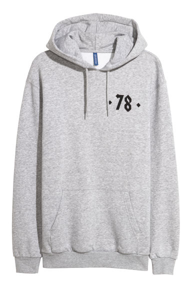 Hooded top with a print motif - Grey marl/78 -  | H&M GB