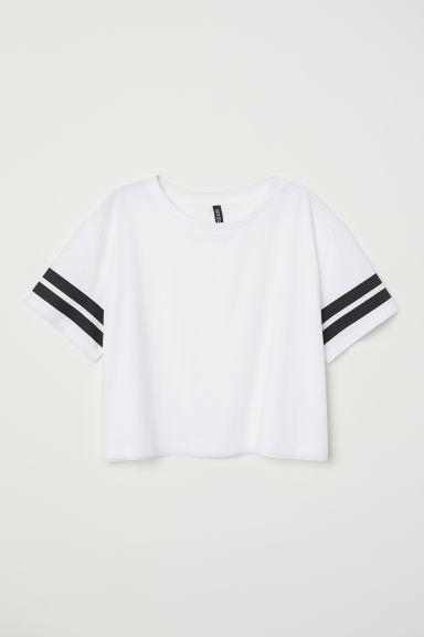 Cropped T-shirt - White/Stripes -  | H&M