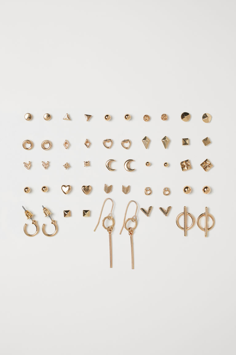 25 Pairs Earrings - Gold-colored - Ladies | H&M CA