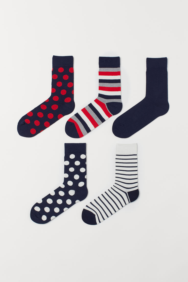 5-pack Socks - Red/dotted - Men | H&M US