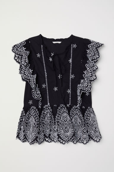 Embroidered blouse - Black - Ladies | H&M