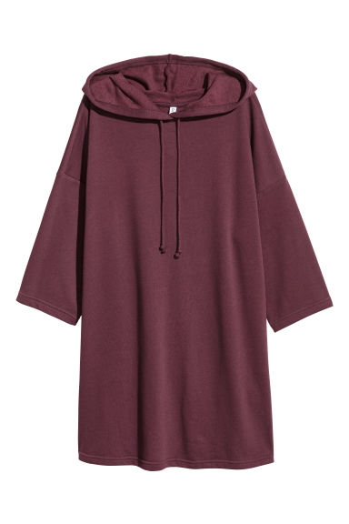 Hooded sweatshirt dress - Dark red - Ladies | H&M GB