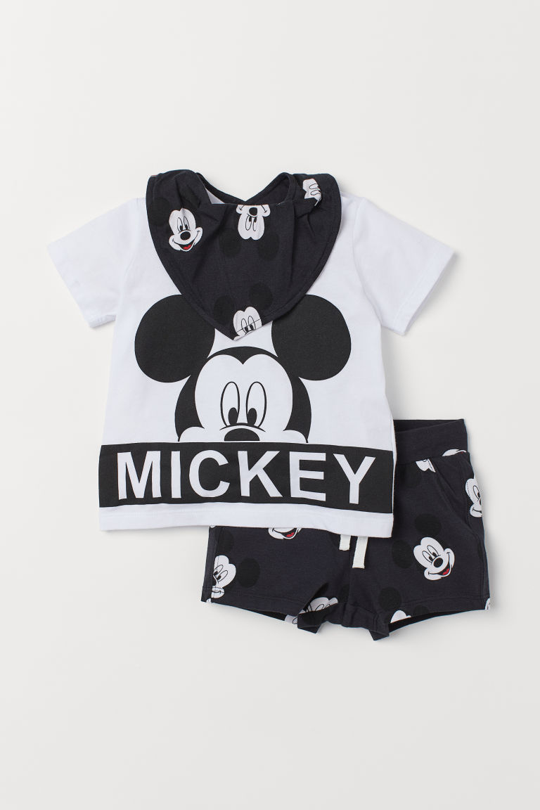 3-piece Jersey Set - White/Mickey Mouse - Kids | H&M US