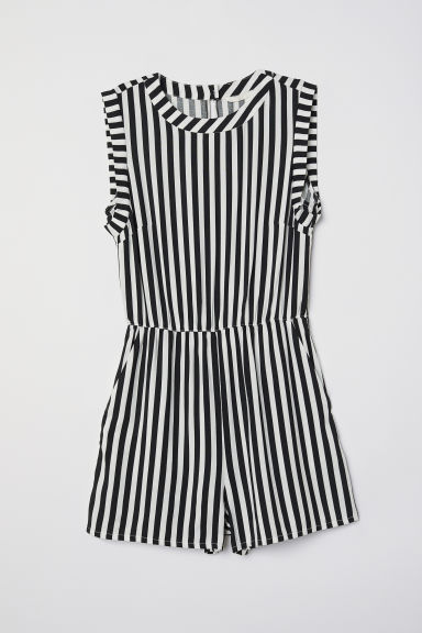 Sleeveless playsuit - White/Black striped -  | H&M