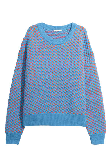 Knitted jumper - Blue/Orange - Ladies | H&M