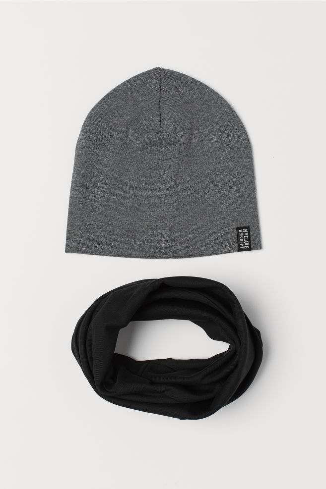 8a1bc097e7 Hat and tube scarf - Black Grey marl - Kids
