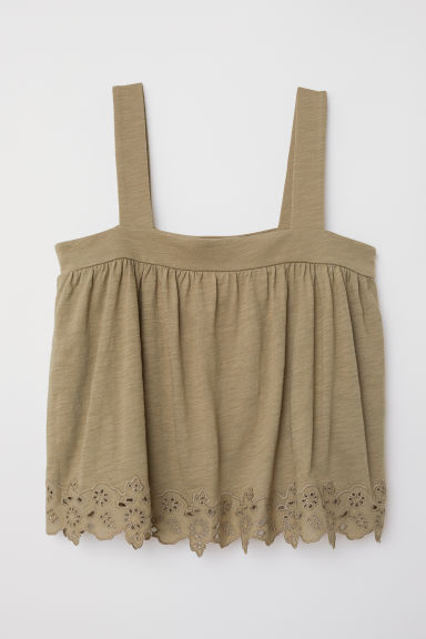 Top with broderie anglaise - Khaki green -  | H&M CN