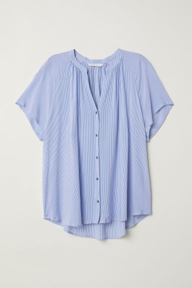 V-neck blouse - Light blue/White striped - Ladies | H&M