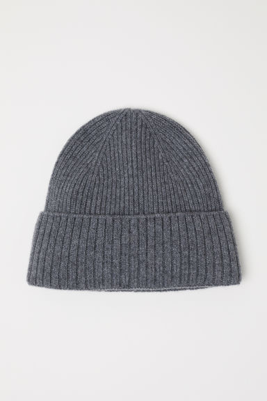 Ribbed cashmere hat - Grey marl - Men | H&M