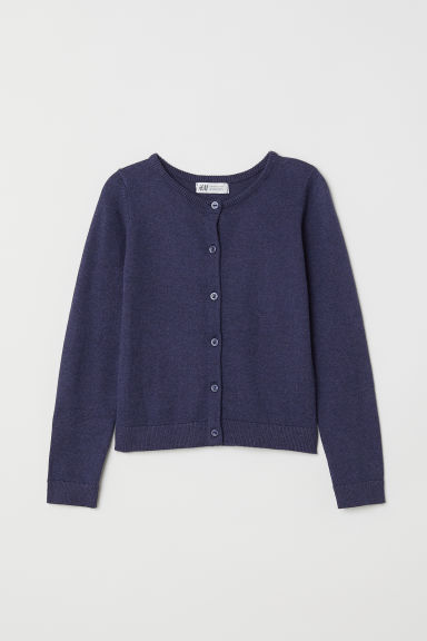 Fine-knit cardigan - Dark blue marl - Kids | H&M