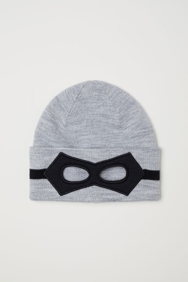 Knitted hat with an eye mask - Grey marl - Kids | H&M CN