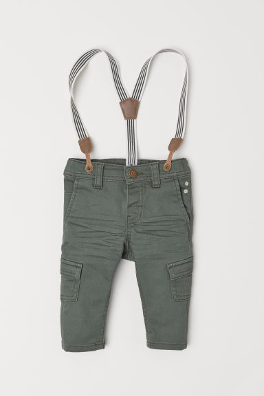 Trousers with braces - Khaki green - Kids | H&M