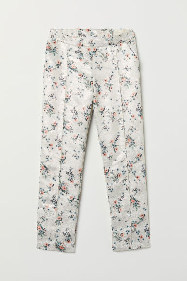 Jacquard-weave trousers - Natural white/Patterned - Kids | H&M CN