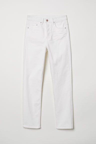Slim Regular Ankle Jeans - White denim -  | H&M