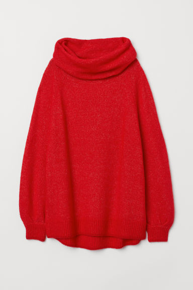Oversized cowl-neck jumper - Bright red - Ladies | H&M CN