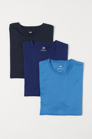 3-pack T-shirts Regular Fit - Blue/Black - Men | H&M