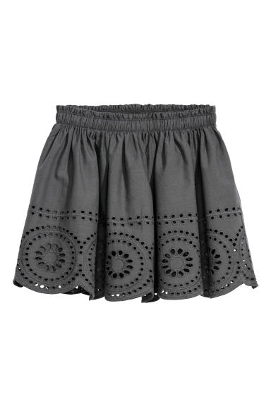 Skirt with a hole pattern - Grey - Kids | H&M CN