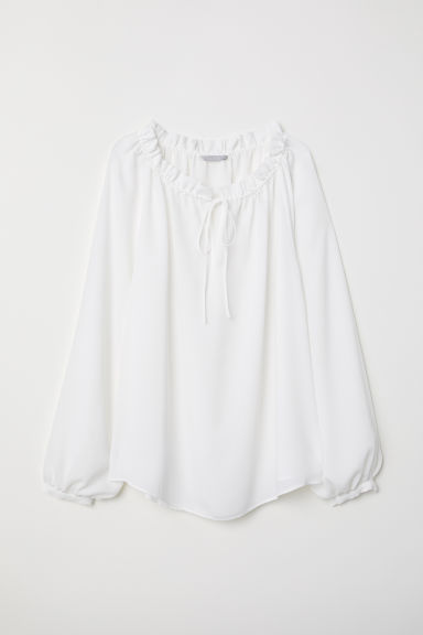 Textured-weave blouse - White - Ladies | H&M CN