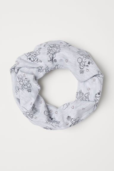 Jersey tube scarf - Light grey marl/Minnie Mouse - Kids | H&M CN