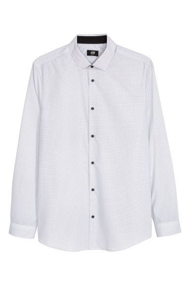 Shirt Slim fit - White/Spotted - Men | H&M CN