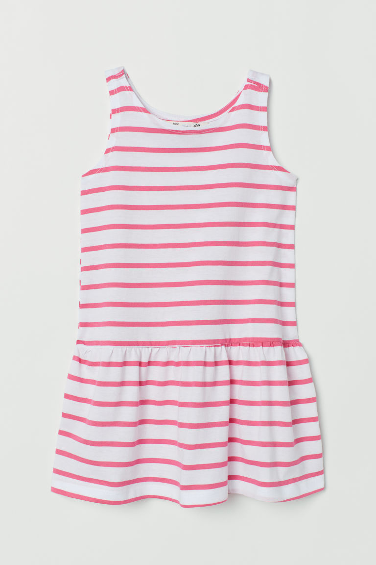 Patterned jersey dress - White/Pink striped - Kids | H&M