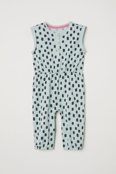 Patterned jersey romper suit - Dusky green/Patterned -  | H&M