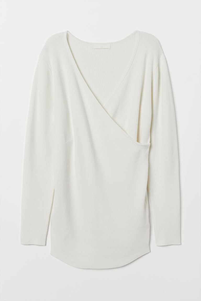 MAMA Ribbed jumper - White - Ladies | H&M CN