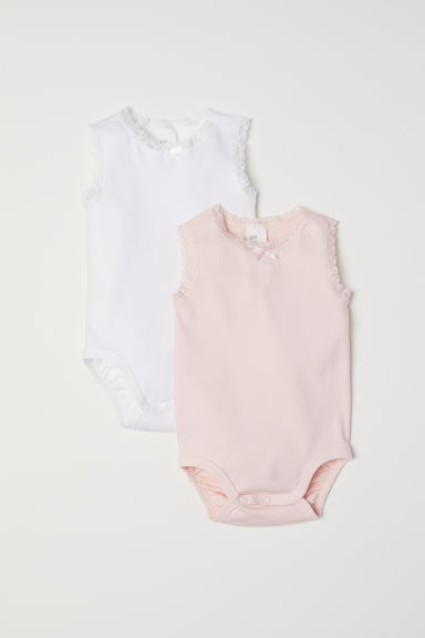 Set van 2 body's met kant - Wit/lichtroze -  | H&M BE