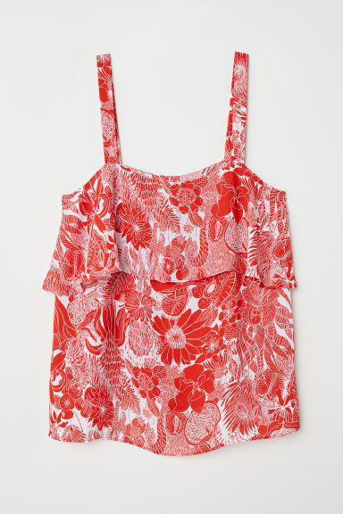 Flounced strappy top - Red/Floral - Ladies | H&M CN