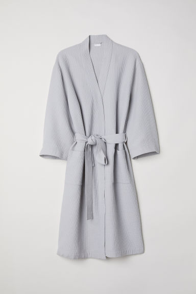 Waffled dressing gown - Light grey - Home All | H&M GB