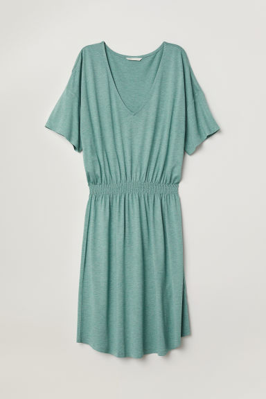 Jersey dress with smocking - Dusky green - Ladies | H&M
