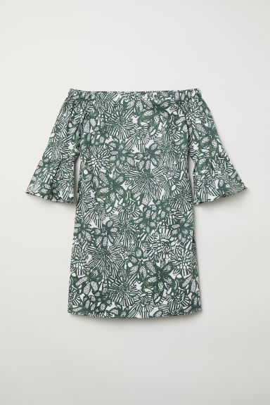 Off-the-shoulder dress - Dark green/Patterned -  | H&M CN