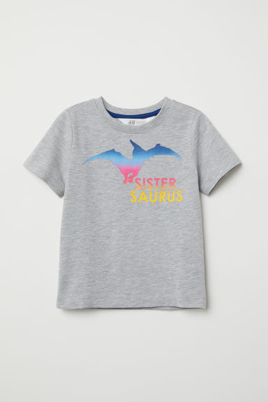 Short-sleeved sibling top - Light grey marl/Pterodactyl - Kids | H&M