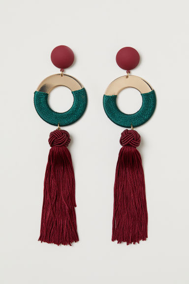 Tasselled earrings - Burgundy - Ladies | H&M