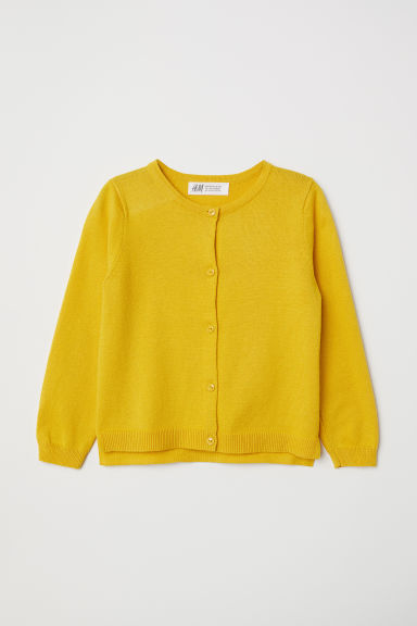 Fine-knit cardigan - Yellow - Kids | H&M