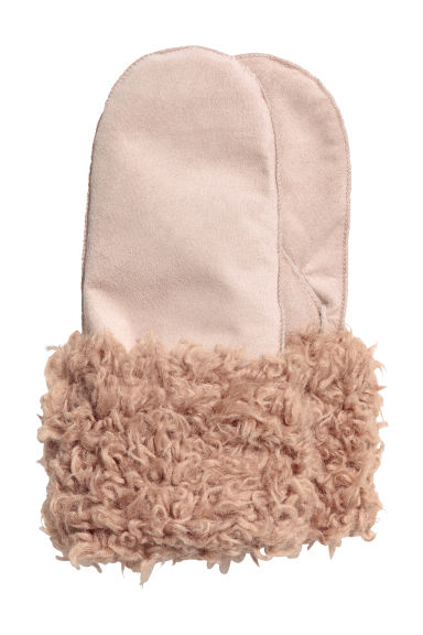 Suede mittens - Light beige - Ladies | H&M CN