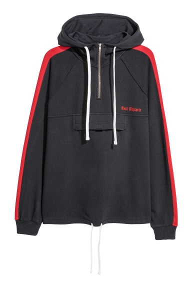 Hooded top with a zip - Black/Red - Men | H&M
