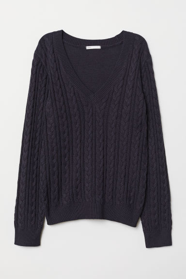 Trui met V-hals - Donkerblauw - DAMES | H&M BE